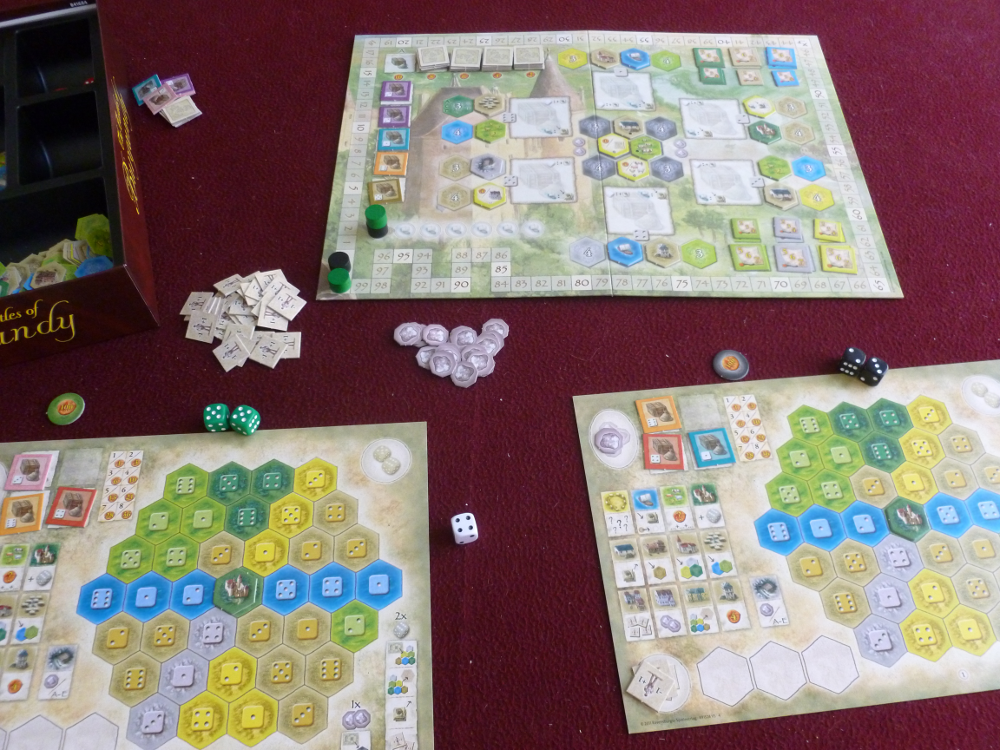 Setup of all boards for a two player game