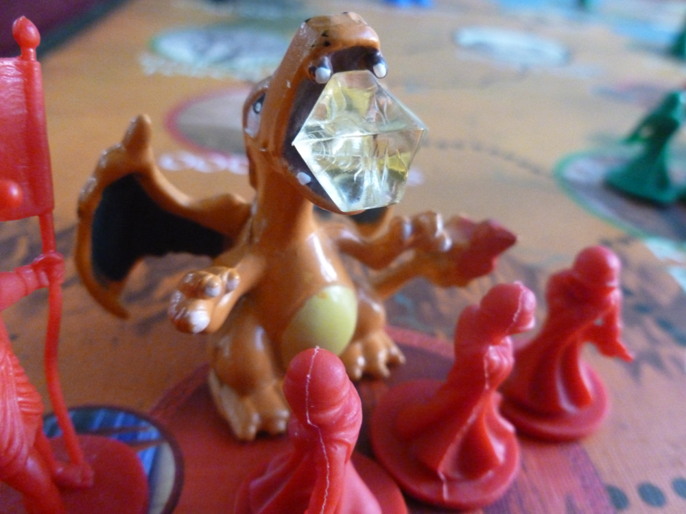 Charizard figure with minions and Fudgeface